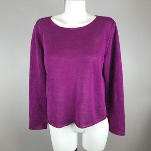 Eileen Fisher Purple Knit Long Sleeve Top Blouse M